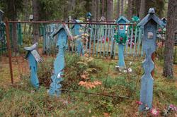 С. Гридино. Поморские кресты на кладбище